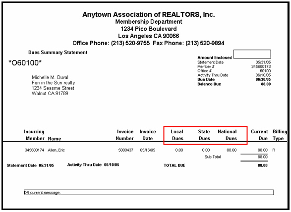 note the dues summary statement only separates dues levels for charge codes linked to a dues invoice type